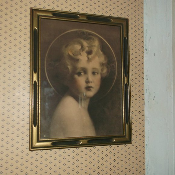 antique picture in frame.